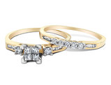 Princess Cut Diamond Engagement Ring & Wedding Band Set 2/5 Carat (ctw) in 10K Yellow Gold