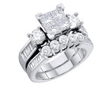 Princess Cut Diamond Engagement Ring & Wedding Band Set 4/5 Carat (ctw) in 10K White Gold