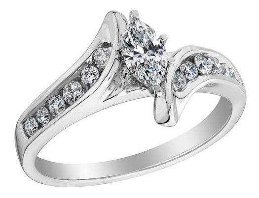 Diamond Marquise Engagement Ring 5/8 Carat (ctw) in 14K White Gold