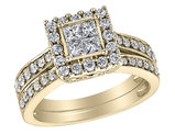 Princess Cut Diamond Engagement Ring & Wedding Band Set 1/2 Carat (ctw) in 14K Yellow Gold
