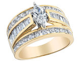 Diamond Marquise Engagement Ring 2.0 Carat (ctw) in 14K Yellow Gold