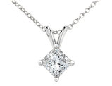 Princess Cut Diamond Solitaire Pendant Necklace 1/20 Carat (ctw) in 10K White Gold with Chain
