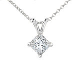 Premium Quality Princess Cut Diamond Solitaire Pendant Necklace 1/20 Carat (ctw) in 14K White Gold with Chain