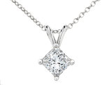 Premium Quality Princess Cut Diamond Solitaire Pendant Necklace 1/3 Carat (ctw) in 14K White Gold with Chain