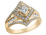 Princess Cut Diamond Engagement Ring 1.0 Carat (ctw) in 14K Yellow Gold
