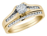 Princess Cut Diamond Engagement Ring & Wedding Band Set 1/2 Carat (ctw) in 10K Yellow Gold
