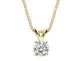 Premium Quality Diamond Solitaire Pendant Necklace 1/5 Carat (ctw) in 14K Yellow Gold with Chain