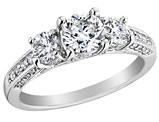 Diamond Engagement Three Stone Anniversary Ring 1.5 Carat (ctw) in 14K White Gold