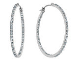 Diamond In and Out Hoop Earrings in 14K White Gold (1 1/3 Inch)