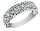 Princess Cut Diamond Wedding Band and Anniversary Ring 2/3 Carat (ctw) in 14K White Gold