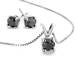 AAA Black Diamond Solitaire Stud Earrings and Necklace Set 2.0 Carat (ctw) in Sterling Silver