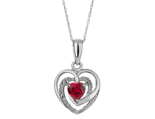 Created ruby heart pendant necklace with diamonds 13 carat ctw created ruby heart pendant necklace with diamonds 13 carat ctw in sterling aloadofball Gallery
