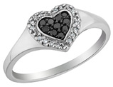 White and Black Diamond Heart Promise Ring 1/7 Carat (ctw) in Sterling Silver