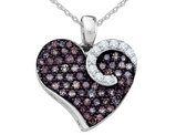 White and Champagne Diamond Heart Pendant Necklace 3/4 Carat (ctw) in 10K White Gold with Chain