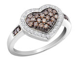 White and Champagne Diamond Heart Ring 1/2 Carat (ctw) in 14K White Gold
