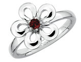 Red Garnet Flower Ring 1/10 Carat (ctw) in Sterling Silver