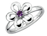 Purple Amethyst Flower Ring 1/10 Carat (ctw) in Sterling Silver