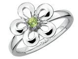 Peridot Flower Ring 1/10 Carat (ctw) in Sterling Silver