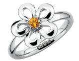 Citrine Flower Ring 1/10 Carat (ctw) in Sterling Silver