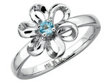 Ladies Blue Topaz Flower Ring 1/10 Carat (ctw) in Sterling Silver