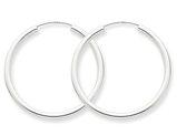 Medium Hoop Earrings in 14K White Gold 1 1/4 Inch (2.00 mm)