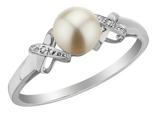 Cultured Freshwater Pearl Ring with Diamonds in 10K White Gold