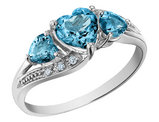Blue Topaz Heart Ring with Diamonds 1.25 Carat (ctw) in 10K White Gold