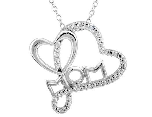 Mom heart pendant necklace with diamond accent in sterling silver mom heart pendant necklace with diamond accent in sterling silver with chain mozeypictures Image collections