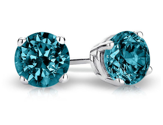 Blue Solitaire Diamond Stud Earrings 1/2 Carat (ctw) in 14K White Gold