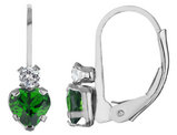 Created Emerald Heart Earrings with Created White Sapphire in Sterling Silver