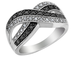 White and Black Diamond Infinity Ring 1/4 Carat (ctw) in Sterling Silver