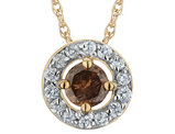 Champagne and White Diamond Circle Pendant Necklace 1/2 Carat (ctw) in 10K Yellow Gold with Chain