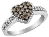 Champagne and White Diamond Heart Promise Ring 1/2 Carat (ctw) in 14K White Gold