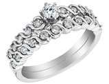 Diamond Engagement Ring & Wedding Band Set 1/2 Carat (ctw) in 14K White Gold