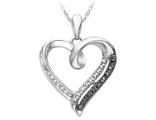 White and black diamond heart pendant necklace in sterling silver white and black diamond heart pendant necklace in sterling silver with chain aloadofball Image collections