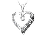 White and Black Diamond Heart Pendant Necklace in Sterling Silver with Chain