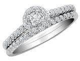 Diamond Engagement Ring & Wedding Band Set 1/2 Carat (ctw) in 10K White Gold