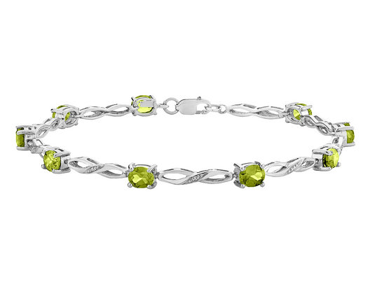 Peridot Infinity Bracelet with Diamonds 2.00 Carat (ctw) in Sterling Silver