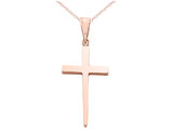Cross Pendant Necklace in 14K Pink Gold With Chain