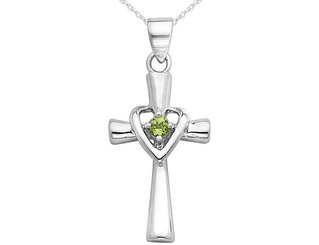 Peridot Heart Cross Pendant Necklace in Sterling Silver with Chain
