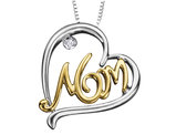 MOM Pendant Necklace with Diamonds in Sterling Silver and 10K Yellow Gold with Chain