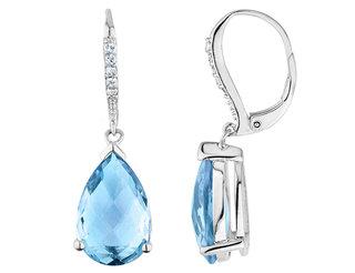 Blue Topaz Tear Drop Earrings with White Topaz 10.00 Carat (ctw) in Sterling Silver