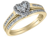 Diamond Heart Engagement Ring and Wedding Band Set 1/2 Carat (ctw) in 10K Yellow Gold