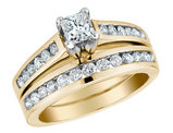 Princess Cut Diamond Engagement Ring and Wedding Band Set 1/2 Carat (ctw) in 10K Yellow Gold