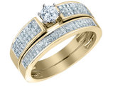 Diamond Engagement Ring & Wedding Band Set 1.0 Carat (ctw) in 14K Yellow Gold