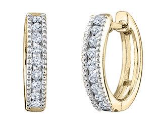 Diamond Hoop Earrings 1/4 Carat (ctw) in 10K Yellow Gold