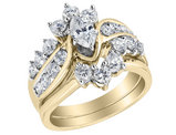 Diamond Marquise Engagement Ring and Wedding Band Set 2.0 Carat (ctw) in 14K Yellow Gold