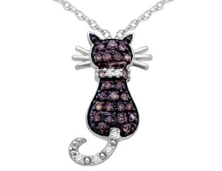 White and Champagne Diamond Cat Pendant Necklace 1/3 Carat (ctw) in 10K White Gold with Chain