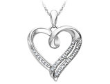 Diamond Heart Pendant 1/10 Carat (ctw) in Sterling Silver with Chain
