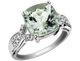 Green Amethyst Ring with Diamonds 4.5 Carat in Sterling Silver